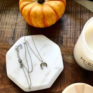 Silver Horn Crescent Moon Dainty Layer Necklace
